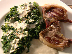 Lamb with Spinach and Garlicky Tahini Sauce