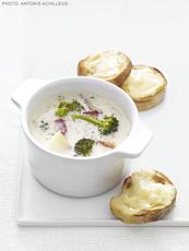 Broccoli Chowder With Cheddar Toasts