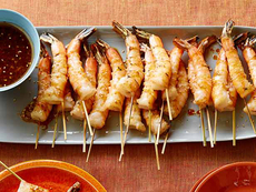 Grilled Shrimp Skewers with Soy Sauce, Fresh Ginger and Toasted Sesame Seeds