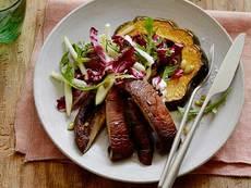 Roasted Acorn Squash and Portobello Mushroom Salad with Radicchio, Apples and Pumpkin Seeds