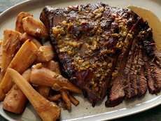 Brisket with Parsnips, Leeks and Green Onions