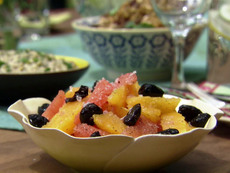 Orange and Grapefruit Salad with Coriander and Black Olives