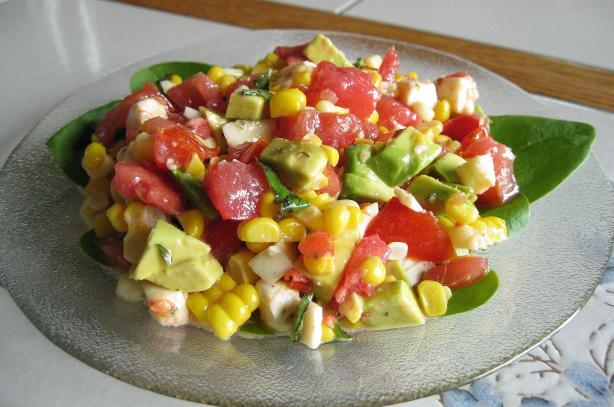Fresh Mozzarella Salad W/ Avocado, Roasted Corn & Tomato
