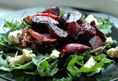 Warm Roasted Beet Salad With Spinach and Blue Cheese
