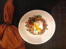 Crispy Potatoes over Crumbled Sausage With Poached Egg #5FIX