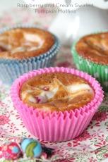 Raspberry and Cream Swirled Pumpkin Muffins