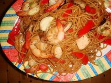 Ginger Chicken & Shrimp Stir-Fry With Sesame Noodles