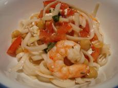 Spaghetti With Shrimp, Chickpeas, and Feta