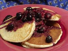 Cornmeal Pancakes With Blueberry Maple Syrup