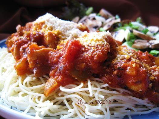 Paul Newman's Spicy Chicken over Angel Hair