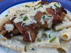 Chicken Breasts over Rigatoni With Gorgonzola Sauce