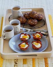 Baked Eggs and Mushrooms in Ham Crisps