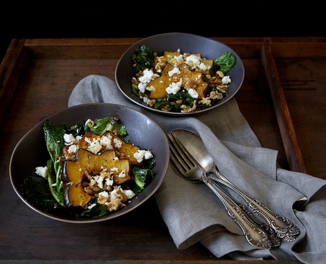 ... Mustard Green Salad with Maple Roasted Acorn Squash, Feta & Walnuts