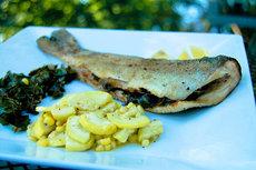 Swiss Chard Stuffed Whole Trout w/ Sauteed Squash & Corn
