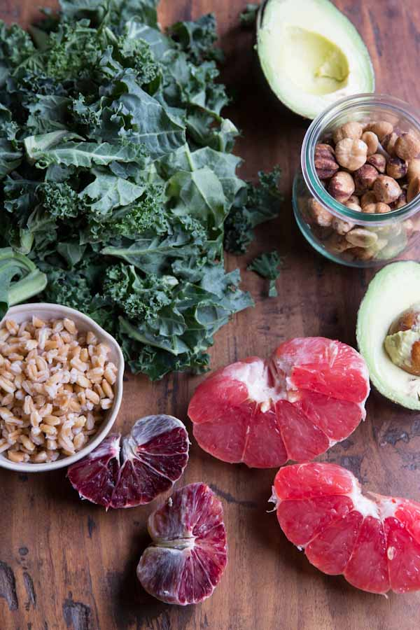 Winter Citrus and Avocado Kale Salad with Farro and Hazelnuts